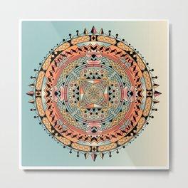Mandala Orange Spike Metal Print