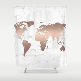 Rose Gold Metallic World Map on Marble Shower Curtain