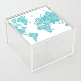Highly detailed watercolor world map in aquamarine Acrylic Box