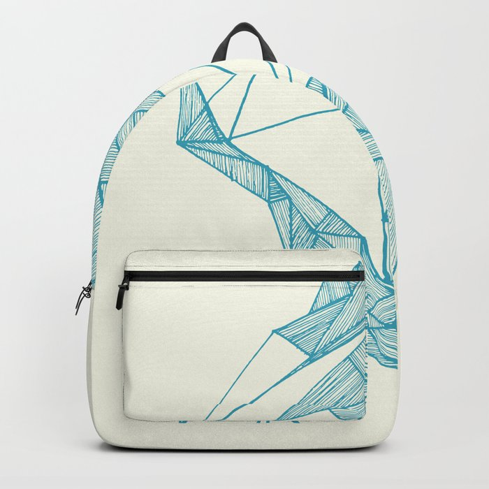Tiny polar bear on iceberg in teal on gold geometric pattern Backpack