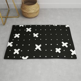 Cosine White on Black Rug