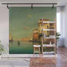 Gondolier on a Venetian Canal landscape painting by Antoine Bouvard Wall Mural