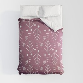 Scandi Floral Doodle in Berry and White Comforters