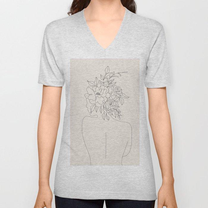 Woman with Flowers Minimal Line I Unisex V-Neck