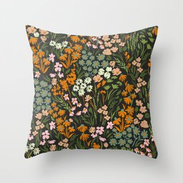 Night in the flowered meadow Throw Pillow