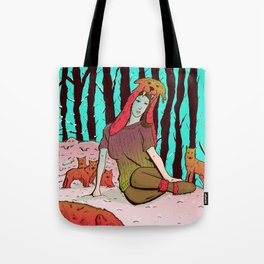 A women's among wolves Tote Bag