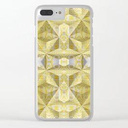 Geometric 3D Diamond Yellow Gold Print Clear iPhone Case