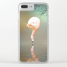 Feathered in pink Clear iPhone Case
