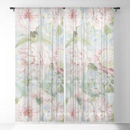 Vintage Blush Peonies  Sheer Curtain