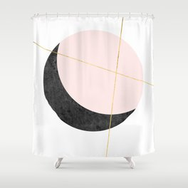 Pink Moon, Contemplation, Full Moon, Faux Gold Lines, Pink Black White Shower Curtain