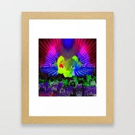 Neon Cat Laser Light Show Framed Art Print