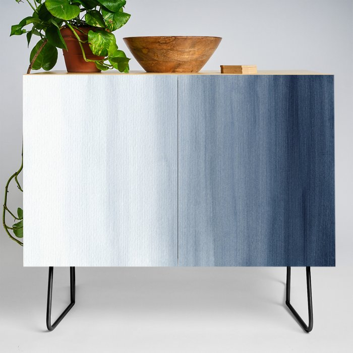 Ocean Watercolor Painting No.2 Modern Credenza Cupboard by Kris Kivu - Black - Birch