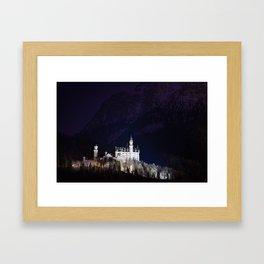 Neuschwanstein Castle at Night Framed Art Print