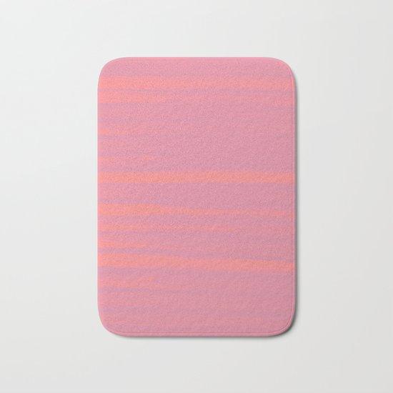 Peach Earth Lines, Pink Stripes Bath Mat