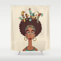 afro Shower Curtains featuring Afro Birds by Beatrice Roberti