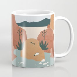 Girl with Agave Earings. Optical Illusion Landscape. Oasis in the Desert. Rotate 180 degrees Coffee Mug