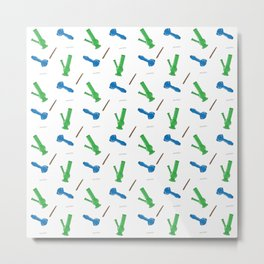 Bongs, Pipes, Blunts & Joints Pattern Metal Print