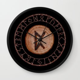 Perthro Elder Futhark Rune of fate and the unmanifest, probability, luck, nothingness, the unborn Wall Clock