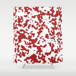 Spots - White and Firebrick Red Shower Curtain