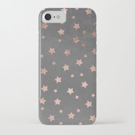 Rose gold Christmas stars geometric pattern grey graphite industrial cement concrete iPhone Case