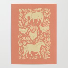 Horses and Chickens Poster