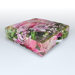 Bouquet of Pink Roses Outdoor Floor Cushion