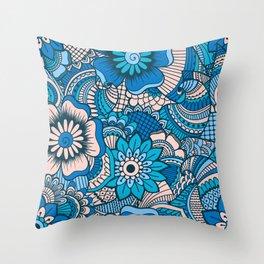 Blue Summer Boho Floral Pattern Throw Pillow
