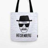 heisenberg Tote Bags featuring HeisenBerg by IIIIHiveIIII