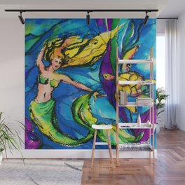 Mermaid and Sea Turtle by Kathy Morton Stanion Wall Mural
