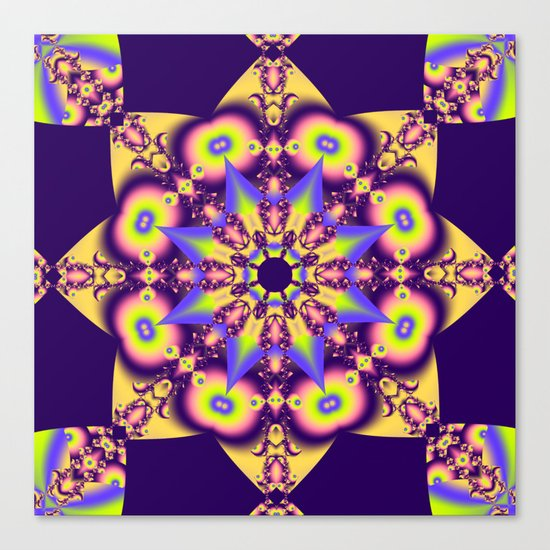 Decorative double star kaleidoscope Canvas Print