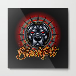 Evil dog pit bull head mascot Metal Print