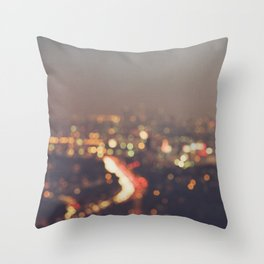 Los Angeles cityscape at night. Abstract Mulholland Throw Pillow