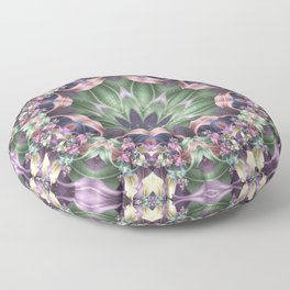 Fractal Ribbon Mandala in Purple, Green, Pink and Yellow Floor Pillow
