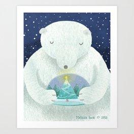 Holiday Polar Bear Art Print