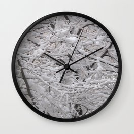 Snow laden trees Wall Clock
