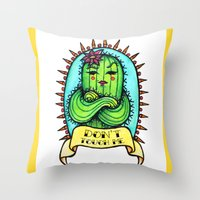 sassy Throw Pillows featuring Sassy Cactus by LittleWillowArt
