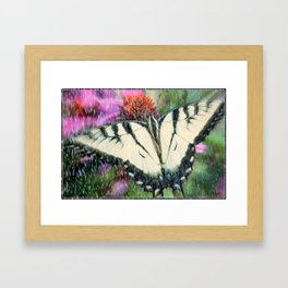 Rain and Butterfly Framed Art Print