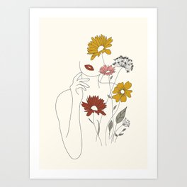 Colorful Thoughts Minimal Line Art Woman with Flowers III Art Print
