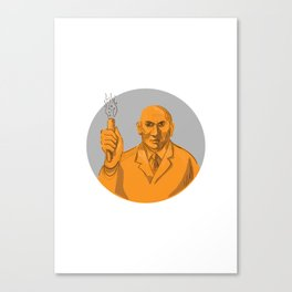 Crazy Scientist Holding Test Tube Circle Drawing Canvas Print