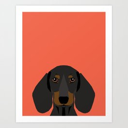 Doxie Portrait - Black and Tan dog design - cute dachshund face Art Print