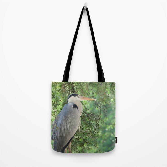 Grey heron (Ardea Cinerea) amongst trees Tote Bag