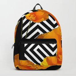 BLACK & WHITE CALIFORNIA YELLOW POPPIES ART Backpack