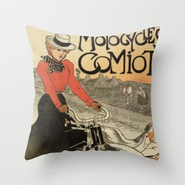 1899 vintage French motorcycle ad by Steinlen Throw Pillow