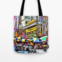 korean Tote Bags featuring Korean Rain (Painted Version) by Anthony M. Davis