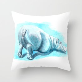 Bums-up Baby Hippo Fantasia Ballet Throw Pillow