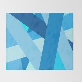 Retro Blue Mid-Century Minimalist Geometric Line Abstract Art Throw Blanket