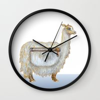 alpaca Wall Clocks featuring Pack Alpaca by Smallest Forest