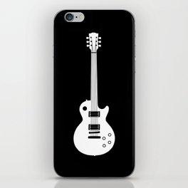 White on Black Guitar iPhone Skin