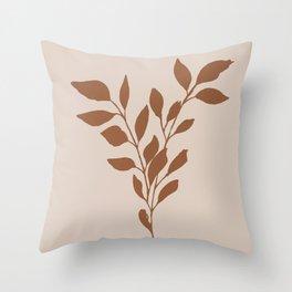 Terracotta leaves Throw Pillow