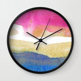 Color meditation: Fuchsia, blue, gold Wall Clock